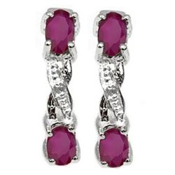 ***NEW*** EARRINGS - DELICATE 4/5 CARAT RUBY & DIAMONDS IN 925 STERLING SILVER SETTING - INCLUDES CE