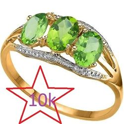 *** NEW*** RING - ASTONISHING 1.29 CARAT TW (5 PCS) PERIDOT & GENUINE DIAMOND IN 10K SOLID YELLOW GO