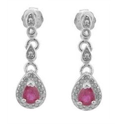 ***NEW*** EARRINGS - PRECIOUS 1/3 CARAT GENUINE RUBY & DIAMONDS IN 925 STERLING SILVER SETTING - INC