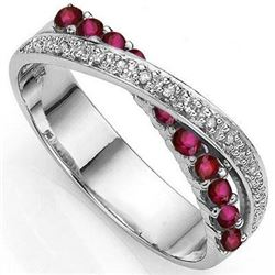 ***NEW*** RING - 11 RUBIES & 4 DIAMOND IN 925 STERLING SILVER SETTING - SIZE 7 - INCLUDES CERTIFICAT