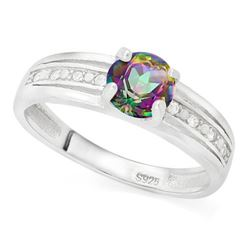 *RING - 3/4 CARAT MYSTIC GEMSTONE & GENUINE DIAMONDS IN 925 STERLING SILVER SETTING - SZ 7 - INCLUDE