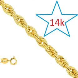 *** NEW*** CHAIN -  18 INCHES 0.5MM 14KT YELLOW SOLID GOLD ROPE CHAIN - RETAIL ESTIMATE $1500