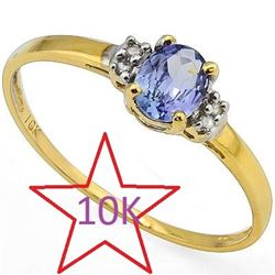 *** NEW ***RING - DAZZLING 0.52 CT GENUINE TANZANITE & 4 PCS GENUINE DIAMOND IN 10K SOLID YELLOW GOL