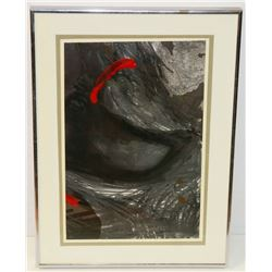 151) ABSTRACT BLOODIED CAVE PRINT. 54.5X40.5