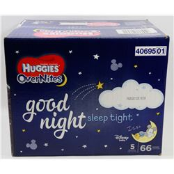 CASE OF 66 HUGGIES OVERNITES DIAPERS SIZE 5