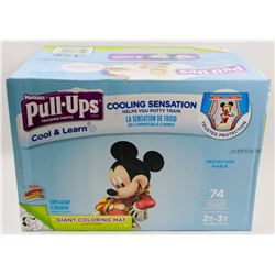 CASE OF 74 HUGGIES PULL UPS COOL & LEARN DIAPERS