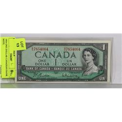 1954 ONE DOLLAR CANADIAN BANK NOTE.