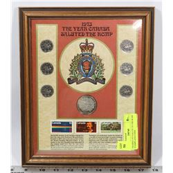 FRAMED 1973 SALUTE TO THE RCMP STAMPS AND COINS