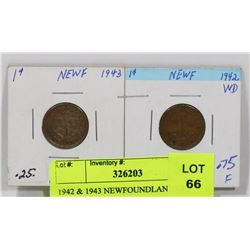 1942 & 1943 NEWFOUNDLAND ONE CENT COINS.
