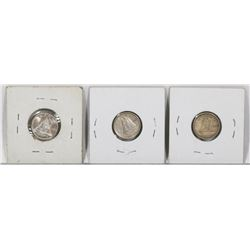 LOT OF 3 CANADIAN SILVER DIMES - YEARS INCLUDE