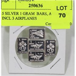 5 SILVER 1 GRAM  BARS, ASSORTED INCL 3 AIRPLANES