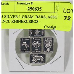 5 SILVER 1 GRAM  BARS, ASSORTED INCL RHINERCEROS