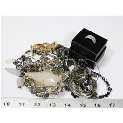 BAG OF FASHION JEWELLERY INCL LIA SOPHIA RING,