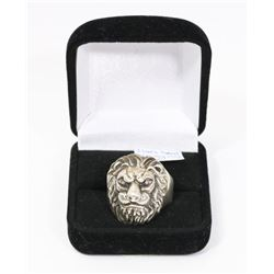STERLING SILVER LIONS HEAD RING SIZE 12.