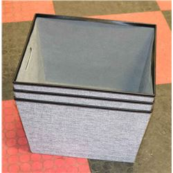 SET OF 3 GREY STORAGE CONTAINERS WITH