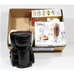 BOX W/1 CUP COFFEE MAKER, SCALE, NEW