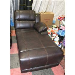 NEW BROWN LEATHERETTE CHAISE LOUNGE