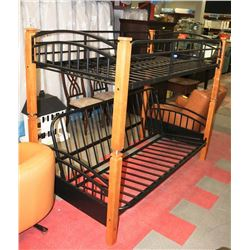 WOOD & BLACK WROUGHT IRON BUNK BED LOWER BED