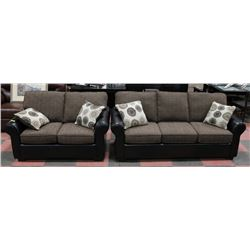 "AB 3035 NEW FABRIC AND LEATHERETTE 80"" SOFA W/"