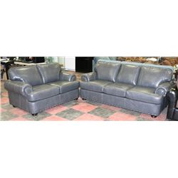 "NEW GREY LEATHERETTE NAILHEAD 84"" SOFA WITH 62"""