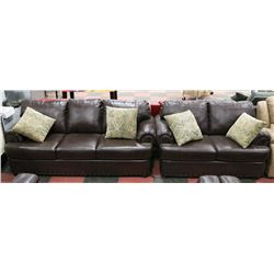 "AB 1496 NEW BROWN LEATHERETTE NAILHEAD 81"" SOFA"