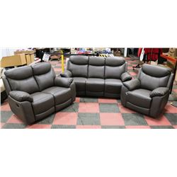 "NEW CAMROSE GREY LEATHER RECLINING 73"" SOFA,"