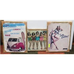 LOT OF 3 PIN UP GIRLS CANVAS PICTURES