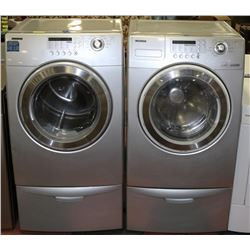 SAMSUNG WASHER AND DRYER SET, SILVER WITH PEDESTAL