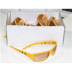 BOX OF AMBER LENSE DESIGNER SUNGLASSES