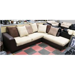 "NEW MICROFIBRE MULTITONE SECTIONAL, 91""X119"""