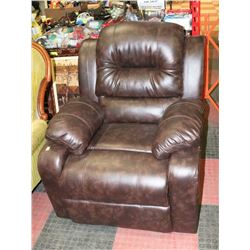 "NEW BROWN LEATHERETTE RECLINING 33"" SOFA CHAIR"