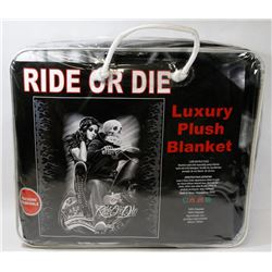"NEW ""RIDE OR DIE"" LUXURY PLUSH BLANKET"