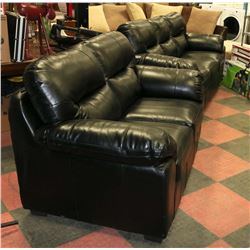 "NEW BLACK LEATHERETTE 83"" SOFA WITH 64"" LOVE SEAT"
