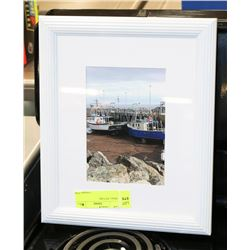 SMALL BOAT FRAMED MATTED PICTURE.