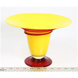 YELLOW WITH RED SWIRL VINTAGE VASE