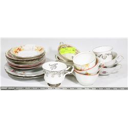 LOT OF 9 VINTAGE TEA CUP AND PLATE SETS
