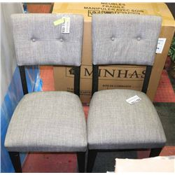 PAIR OF SIDE CHAIRS GREY FABRIC