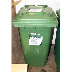 LARGE GREEN RECYCLE BIN WITH WHEELS