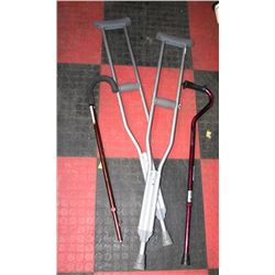 PAIR OF CRUTCHES WITH 2 CANES - ONE FOR ICE.