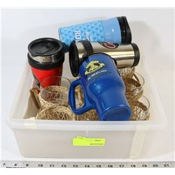 TOTE OF TRAVEL MUGS AND GLASSWARE
