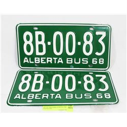 SET OF 2 MATCHING ALBERTA 1968 PLATES, NOS