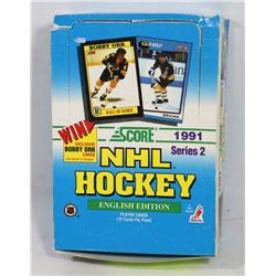 1991 SCORE HOCKEY BOX SERIES 2, 36 PACKS PER BOX