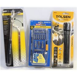 SET OF 3 SEALED TOLSEN ITEMS, 9 PC LONG ARM HEX