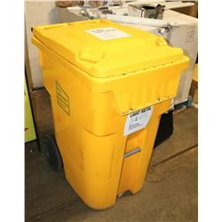 LARGE YELLOW RECYCLING BIN WITH WHEELS