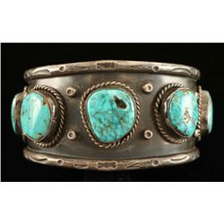 Old Pawn Navajo Silver & Turquoise Cuff