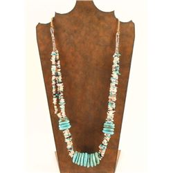 Large Disk Turquoise Necklace with Heishi