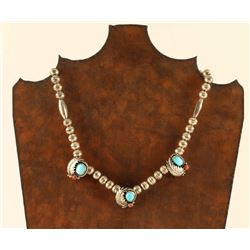 Sterling Silver Necklace with Coral & Turquoise