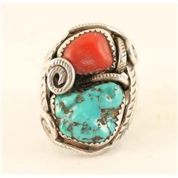 Turquoise & Coral Sterling Silver Ring