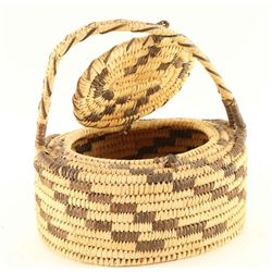 Papago Basket with Lid and Handle