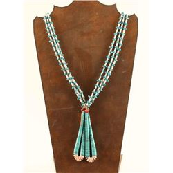 Three Strand Turqioise & Heishi Necklace
